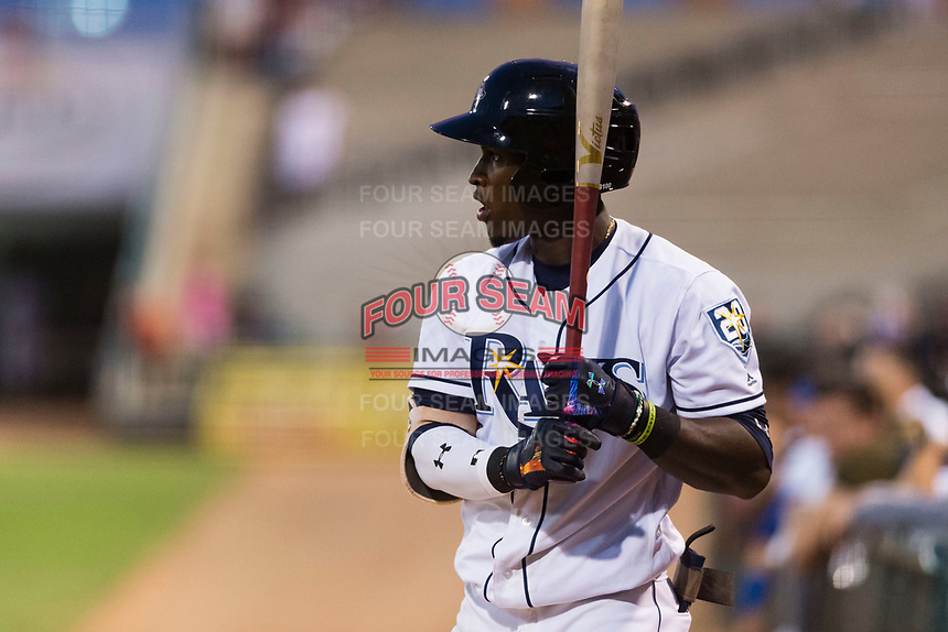 AFL West shortstop Lucius Fox (5), of the Peoria Javelinas and Tampa Bay Rays organization, on deck during the Arizona Fall League Fall Stars game at Surprise Stadium on November 3, 2018 in Surprise, Arizona. The AFL West defeated the AFL East 7-6 . (Zachary Lucy/Four Seam Images)