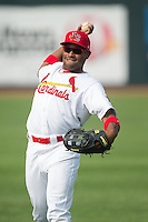 Malik Collymore (15) of the Johnson City Cardinals warms up in the outfield prior to the game against the Bristol Pirates at Howard Johnson Field at Cardinal Park on July 6, 2015 in Johnson City, Tennessee.  The Pirates defeated the Cardinals 2-0 in game one of a double-header. (Brian Westerholt/Four Seam Images)