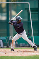 GCL Yankees West shortstop Sincere Smith (3) at bat during the second game of a doubleheader against the GCL Braves on July 30, 2018 at Champion Stadium in Kissimmee, Florida.  GCL Braves defeated GCL Yankees West 5-4.  (Mike Janes/Four Seam Images)