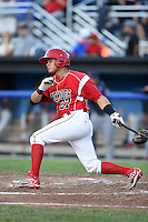 Batavia Muckdogs catcher Rodrigo Vigil (27) at bat during a game against the State College Spikes on July 3, 2014 at Dwyer Stadium in Batavia, New York.  State College defeated Batavia 7-1.  (Mike Janes/Four Seam Images)