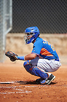 GCL Mets catcher Carlos Sanchez (21) warms up the pitcher in between innings during the first game of a doubleheader against the GCL Astros on August 5, 2016 at Osceola County Stadium Complex in Kissimmee, Florida.  GCL Astros defeated the GCL Mets 4-1 in the continuation of a game started on July 21st and postponed due to inclement weather.  (Mike Janes/Four Seam Images)