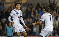 Goal scorer Son Heung-Min of Tottenham Hotspur runs to celebrate with assist Dele Alli of Tottenham Hotspur during the UEFA Europa League match between Tottenham Hotspur and Qarabag FK at White Hart Lane, London, England on 17 September 2015. Photo by Andy Rowland.