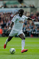 SWANSEA, WALES - MAY 17:  Bafetimbi Gomis of Swansea City  scores during the Premier League match between Swansea City and Manchester City at The Liberty Stadium on May 17, 2015 in Swansea, Wales.  (Photo by Athena Pictures/Getty Images)