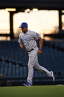 AZL Royals manager Tony Pena Jr. (1) jogs off the field during an Arizona League game against the AZL Cubs 1 on June 30, 2019 at Sloan Park in Mesa, Arizona. AZL Royals defeated the AZL Cubs 1 9-5. (Zachary Lucy/Four Seam Images)