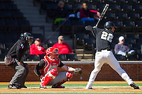 James Harris (22) of the Wake Forest Demon Deacons at bat against the Youngstown State Penguins at Wake Forest Baseball Park on February 24, 2013 in Winston-Salem, North Carolina.  The Demon Deacons defeated the Penguins 6-5.  (Brian Westerholt/Four Seam Images)
