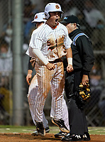 Sarasota Sailors Bradley Ramsden (3) celebrates after scoring a run during a game against the Riverview Rams on February 19, 2021 at Rams Baseball Complex in Sarasota, Florida. (Mike Janes/Four Seam Images)