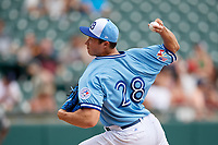 Buffalo Bisons starting pitcher Nate Pearson (28) during an International League game against the Pawtucket Red Sox on August 25, 2019 at Sahlen Field in Buffalo, New York.  Buffalo defeated Pawtucket 5-4 in 11 innings.  (Mike Janes/Four Seam Images)