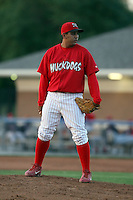 August 3rd 2008:  Pitcher Rigoberto Lugo of the Batavia Muckdogs, Class-A affiliate of the St. Louis Cardinals, during a game at Dwyer Stadium in Batavia, NY.  Photo by:  Mike Janes/Four Seam Images