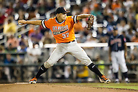 Oklahoma State Cowboys pitcher Tyler Buffett (37) delivers a pitch to the plate against the Arizona Wildcats during Game 6 of the NCAA College World Series on June 20, 2016 at TD Ameritrade Park in Omaha, Nebraska. Oklahoma State defeated Arizona 1-0. (Andrew Woolley/Four Seam Images)
