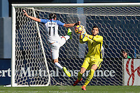 San Diego, CA - Sunday January 29, 2017: Alejandro Bedoya, Filip Manojlovic during an international friendly between the men's national teams of the United States (USA) and Serbia (SRB) at Qualcomm Stadium.