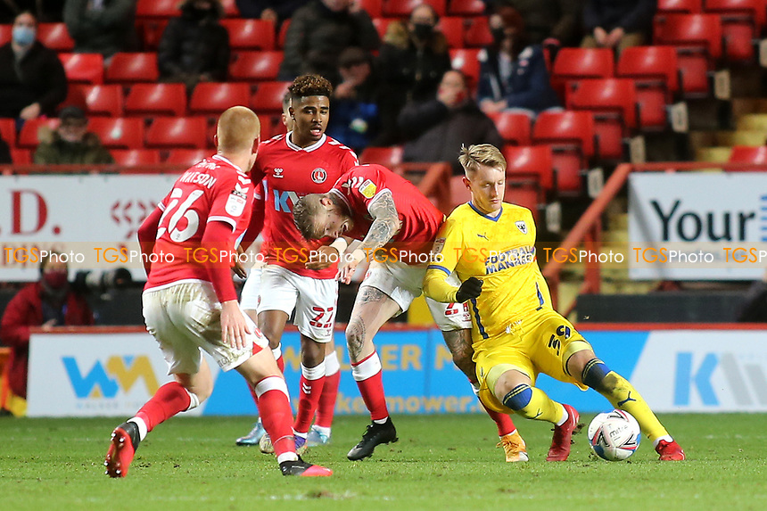 Joe Pigott of AFC Wimbledon in possession of the ball during Charlton Athletic vs AFC Wimbledon, Sky Bet EFL League 1 Football at The Valley on 12th December 2020