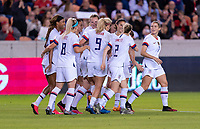 HOUSTON, TX - FEBRUARY 03: Christen Press #20 of the United States celebrates with Sam Mewis #3 during a game between Costa Rica and USWNT at BBVA Stadium on February 03, 2020 in Houston, Texas.