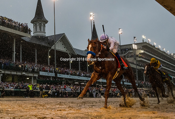 LOUISVILLE, KY - MAY 05: Justify #7 with Mike Smith up wins the 144th Kentucky Derby at Churchill Downs on May 5, 2018 in Louisville, Kentucky. (Photo by Alex Evers/Eclipse Sportswire/Getty Images)