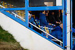 An unimpressed Stocksbridge fan in the Jamie Vardy Stand. Stocksbridge Park Steels v Pickering Town,  Evo-Stik East Division, 17th November 2018. Stocksbridge Park Steels were born from the works team of the local British Steel plant that dominates the town north of Sheffield.<br /> Having missed out on promotion via the play offs in the previous season, Stocksbridge were hovering above the relegation zone in Northern Premier League Division One East, as they lost 0-2 to Pickering Town. Stocksbridge finished the season in 13th place.