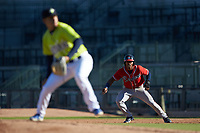 Justin Dean (5) of the Rome Braves takes his lead off of first base as Columbia Fireflies starting pitcher Jose Butto (45) starts his delivery at Segra Park on May 13, 2019 in Columbia, South Carolina. The Fireflies walked-off the Braves 2-1 in game one of a doubleheader. (Brian Westerholt/Four Seam Images)
