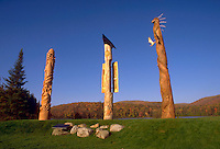 file photo, Mont Tremblant, QC, canada<br /> <br /> Three indian totems, stand against a blue sky, on an early fall morning, in MontTremblant, Canada<br /> <br />  <br /> Mandatory Credit: Photo by Pierre Roussel- Images Distribution. (©) Copyright 1995 by Pierre Roussel <br /> ON SPEC<br /> NOTE: scan from 35mm slide