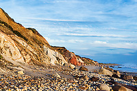 Coastal clay cliffs and rock formations, Gay Head, Aquinnah, Martha's Vineyard, Massachusetts, USA. Tribal lands of the native american Wampanoag tribe.