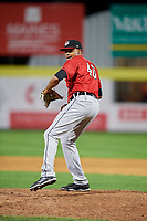 Erie SeaWolves relief pitcher Jeff Thompson (40) delivers a pitch during a game against the Binghamton Rumble Ponies on May 14, 2018 at NYSEG Stadium in Binghamton, New York.  Binghamton defeated Erie 6-5.  (Mike Janes/Four Seam Images)