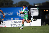 Manawatu's Ben Wyness races away to score from an intercpet during the Mitre 10 Cup Cup rugby match between Manawatu Turbos and Southland Stags at Manfeild Park in Feilding, New Zealand on Saturday, 1 November 2020. Photo: Dave Lintott / lintottphoto.co.nz