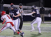 Har-Ber Wildcats Sophomore Hudson Brewer (22) looks for an opening as Har-Ber Wildcats Senior Carson Sanders (73) blocks during the first round play-off game against the Fort Smith Northside Grizzlies Friday, November 13, 2020, at Wildcat Stadium, Springdale, Arkansas (Special to NWA Democrat-Gazette/Brent Soule)