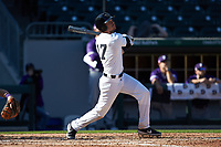 Bruce Steel (17) of the Wake Forest Demon Deacons follows through on his swing against the Furman Paladins at BB&T BallPark on March 2, 2019 in Charlotte, North Carolina. The Demon Deacons defeated the Paladins 13-7. (Brian Westerholt/Four Seam Images)