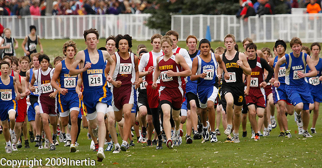 RAPID CITY, SD -- OCTOBER 24, 2009 -- Runners in the class B boys event start at the 2009 South Dakota State High School Cross Country Meet Saturday in Rapid City. (Photo by Dick Carlson/Inertia)