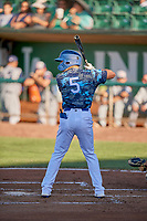 Sam McWilliams (5) of the Ogden Raptors at bat against the Rocky Mountain Vibes at Lindquist Field on July 19, 2019 in Ogden, Utah. The Raptors defeated the Vibes 9-5. (Stephen Smith/Four Seam Images)