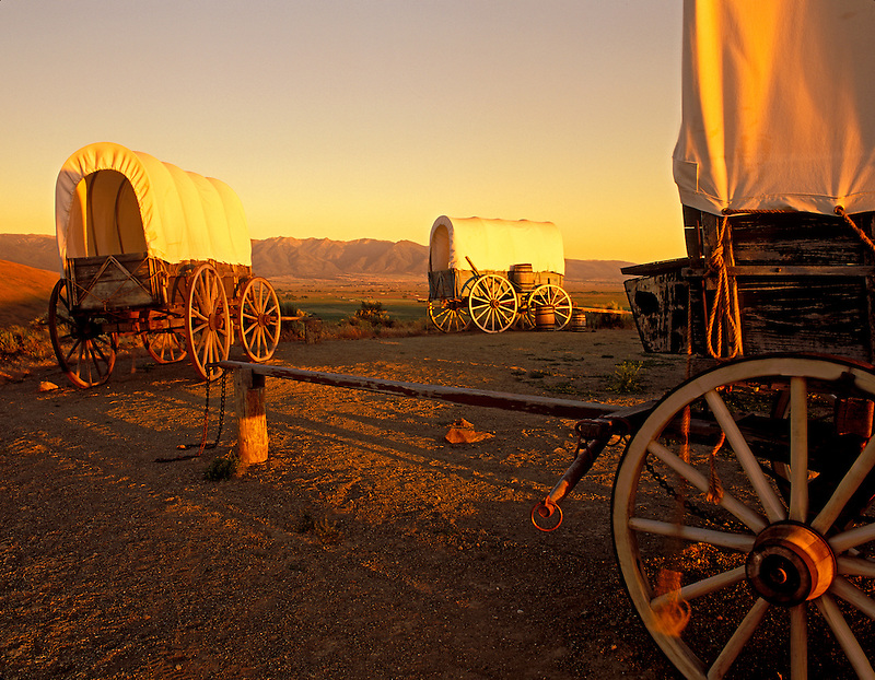 F00157M.tif   Covered wagons at Oregon Trail Interpretive Center. Near Baker City, Oregon