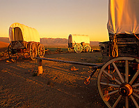 F00157M.tif   Covered wagons at Oregon Trail Interpretive Center. Near Baker City, Oregon