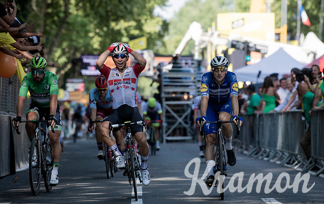 Caleb Ewan, (AUS/Lotto-Soudal) wins the bunch sprint to the finish line <br /> <br /> Stage 11: Albi to Toulouse(167km)<br /> 106th Tour de France 2019 (2.UWT)<br /> <br /> ©kramon