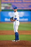 Bluefield Blue Jays relief pitcher Mike Pascoe (13) gets ready to deliver a pitch during a game against the Bristol Pirates on July 26, 2018 at Bowen Field in Bluefield, Virginia.  Bristol defeated Bluefield 7-6.  (Mike Janes/Four Seam Images)
