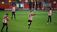 Social distancing shown by the Brentford players as Sergi Canos celebrates scoring Brentford's fifth goal during Brentford vs Wycombe Wanderers, Sky Bet EFL Championship Football at the Brentford Community Stadium on 30th January 2021
