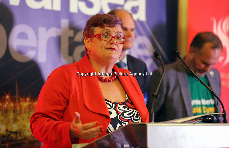 Pictured: Labour candidate Carolyn Harris. Friday 09 June 2017<br /> Re: Counting of ballots at Brangwyn Hall for the general election in Swansea, Wales, UK