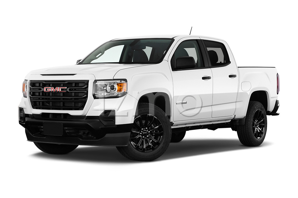 Stock pictures of low aggressive front three quarter view of 2021 GMC Canyon Elevation-Standard 4 Door Pick-up Low Aggressive