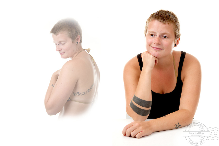 Tattoos on a young danish woman. Tattooed by Jonas Bjerg of Copenhagen Tattoo Center. The rings on the right forarm are inspired by a photo by Steve McCurry (National Geographics). The stars on the left forarm is a work in progress. Text on upper left back is a poem by the young woman herself written in arabic. The arabic text was tattooed by a libanese tattoo artist.
