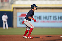 Nick Yorke (3) of the Salem Red Sox takes his lead off of second base against the Kannapolis Cannon Ballers at Atrium Health Ballpark on July 30, 2021 in Kannapolis, North Carolina. (Brian Westerholt/Four Seam Images)