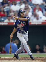 Coco Crisp of the Cleveland Indians bats during a 2002 MLB season game against the Los Angeles Angels at Angel Stadium, in Los Angeles, California. (Larry Goren/Four Seam Images)