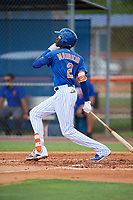GCL Mets shortstop Ronny Mauricio (2) follows through on a swing during a game against the GCL Marlins on August 3, 2018 at St. Lucie Sports Complex in Port St. Lucie, Florida.  GCL Mets defeated GCL Marlins 3-2.  (Mike Janes/Four Seam Images)