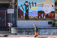 San Francisco, California, Chinatown. Chinese Railroad Workers Mural, by Amy Nelder. Stockton Street.