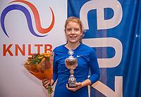 Hilversum, Netherlands, December 3, 2017, Winter Youth Circuit Masters, 12,14,and 16, years, prizegiving 16 years, Eniek van den Broek winner girls 16 years<br /> Photo: Tennisimages/Henk Koster