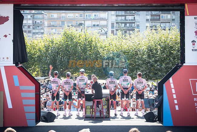 Bora-Hansgrohe at sign on before the start of Stage 16 of La Vuelta d'Espana 2021, running 180km from Laredo to Santa Cruz de Bezana, Spain. 31st August 2021.     <br /> Picture: Charly Lopez/Unipublic   Cyclefile<br /> <br /> All photos usage must carry mandatory copyright credit (© Cyclefile   Unipublic/Charly Lopez)