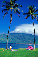 Kihei Coastline with windsurfer and car, Maui