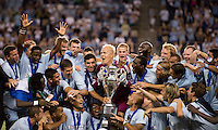 Jimmy Nielsen, Sporting Kansas City, Lamar Hunt US Open Cup Trophy. Sporting Kansas City won the Lamar Hunt U.S. Open Cup on penalty kicks after tying the Seattle Sounders in overtime at Livestrong Sporting Park in Kansas City, Kansas.