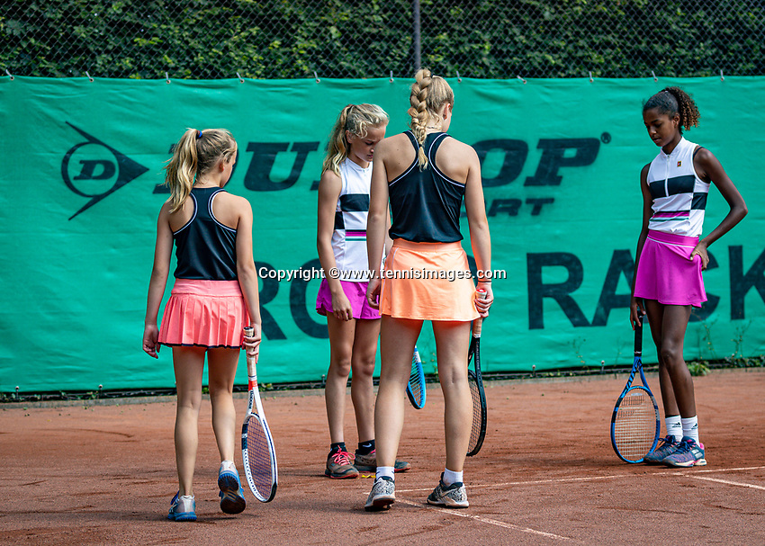 Hilversum, Netherlands, Juli 31, 2019, Tulip Tennis center, National Junior Tennis Championships 12 and 14 years, NJK, Doubles: Line call dicussion<br /> Photo: Tennisimages/Henk Koster