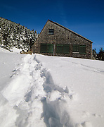 Appalachian Trail - Snowshoe tracks leading to Mizpah Hut during the winter along the Webster-Cliff Trail in the White Mountain National Forest of New Hampshire.