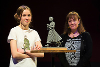 BNPS.co.uk (01202 558833)<br /> Pic: Graham Hunt/BNPS<br /> <br /> Pictured: The scaled-down model of a new statue to honour pioneering palaeontologist Mary Anning. Sculptor Denise Dutton (left) the maquette - a 1/8 scale resin model, Schoolgirl Evie Swire (Pictured left) <br /> <br /> Campaigners behind a bid to get a statue of palaeontologist Mary Anning built have accused officials of being dinosaurs for jeopardising the project.<br /> <br /> Evie Swire and her mum Anya Pearson set up a charity and fundraised £150,000 for a tribute to the pioneering fossil hunter in her hometown of Lyme Regis, Dorset.<br /> <br /> They had hoped to unveil the statue in May 2022 - the 222nd anniversary of Mary's birth - but they have hit a wall of bureaucracy after Dorset Council said they are too busy to deal with the plans and the statue was 'not a high priority'.