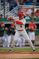 Auburn Doubledays Colton Pogue (6) bats during a NY-Penn League game against the Batavia Muckdogs on June 14, 2019 at Dwyer Stadium in Batavia, New York.  Batavia defeated 2-0.  (Mike Janes/Four Seam Images)