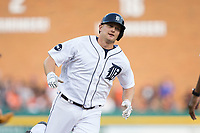 John Hicks (55) of the Detroit Tigers rounds the bases after hitting a home run against the Chicago White Sox at Comerica Park on June 2, 2017 in Detroit, Michigan.  The Tigers defeated the White Sox 15-5.  (Brian Westerholt/Four Seam Images)