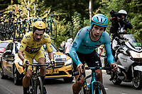 yellow jersey / GC leader Primoz Roglic (SVN/Jumbo-Visma) catches up with 3rd placed Miguel 'Superman' Angel Lopez (COL/Astana) on the steep parts of the individual time trial up the infamous Planche des Belles Filles, but is in fact losing the Tour to 2nd placed Tadej Pogačar who started before hime & which he never saw riding today...<br /> <br /> Stage 20 (ITT) from Lure to La Planche des Belles Filles (36.2km)<br /> <br /> 107th Tour de France 2020 (2.UWT)<br /> (the 'postponed edition' held in september)<br /> <br /> ©kramon