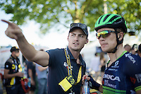 Team OBE osteopathic therapist Andrew Gerrans showing Chris Juul-Jensen (DEN/Orica-BikeExchange) where the teambus is parked after the finish<br /> <br /> stage 16: Morain-en-Montagne to Bern (SUI) / 209km<br /> 103rd Tour de France 2016
